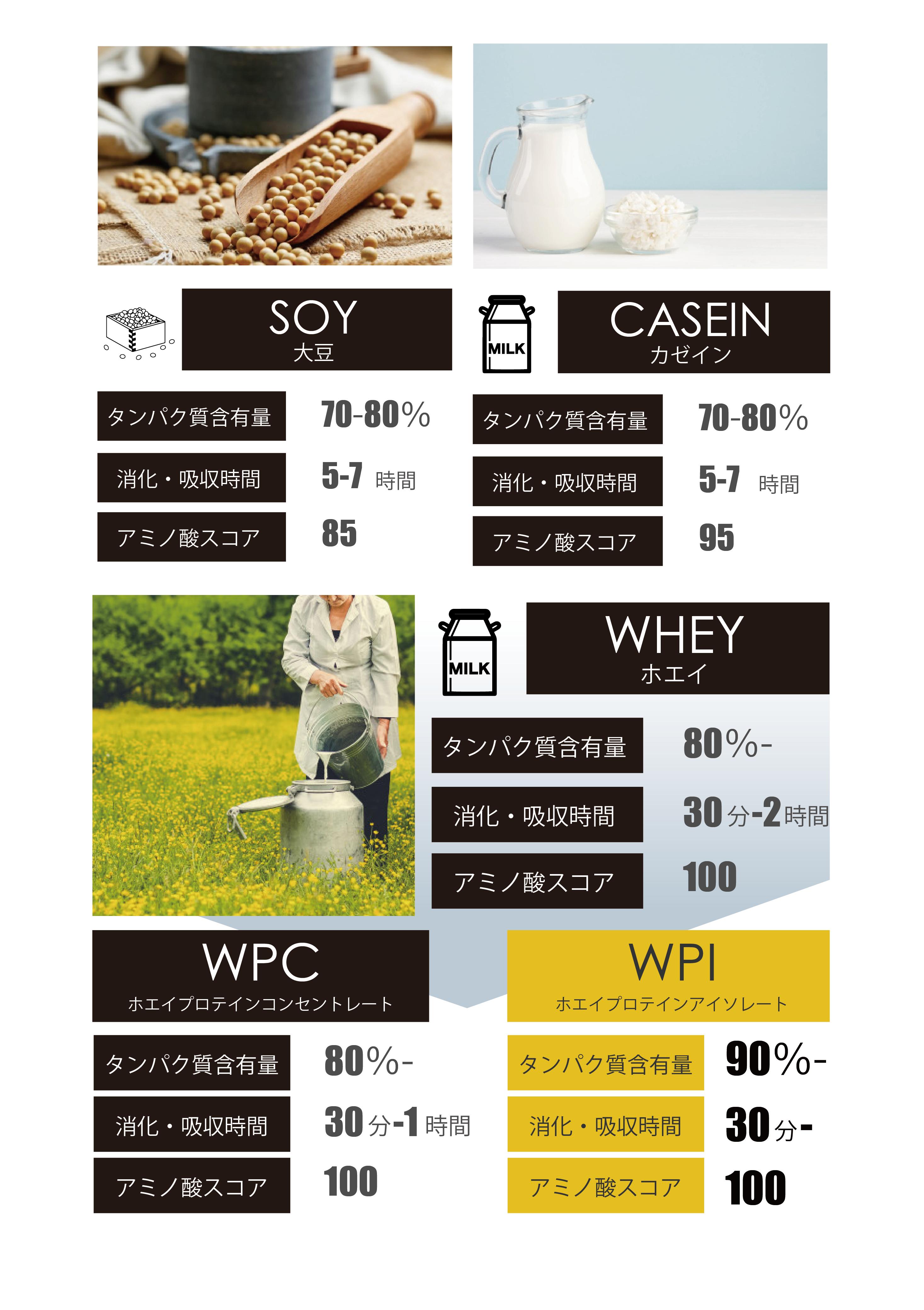 WPIはアミノ酸スコア、消化吸収速度、タンパク質含有量全てにおいて優れています